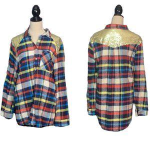 ETWO Colorful Flannel Shirt Sequin Detail Sz M